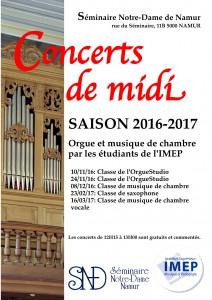 Affiche Concerts de midi SND 2016-17